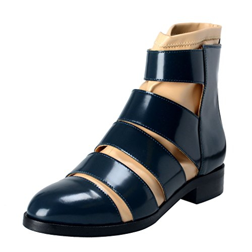 Maison Leather Polished Beige Navy Ankle MM6 Blue Women's Tan Boots Margiela Shoes OwrOqHZ