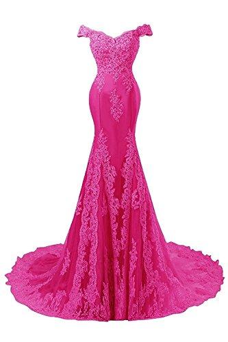 JAEDEN Abendkleider Lang Ballkleider Spitze Hochzeitskleider Meerjungfrau Satin Brautkleider Damen Hot Pink f4IJKy