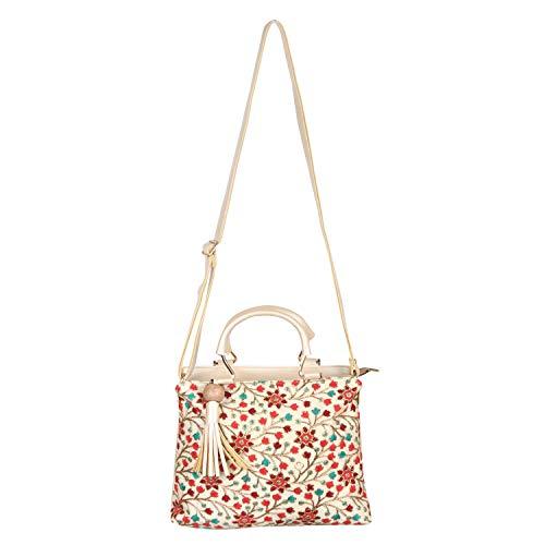 Sontronix Women's Silk Rajasthani, Gujarati, Jaipuri Embroidered Sling bag Handbag