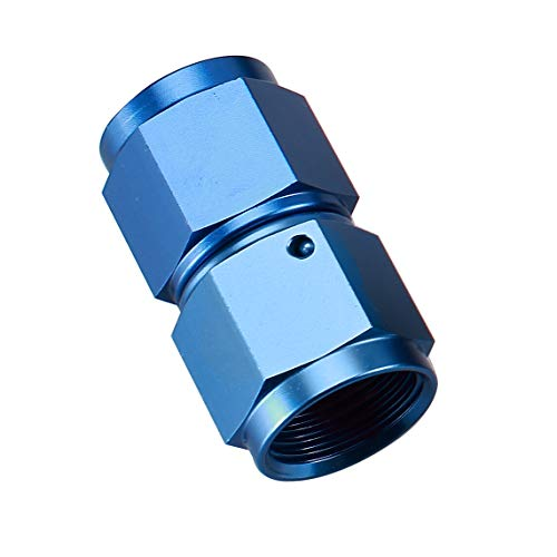 10AN Female to 10 AN Female Flare Coupler Hose Union Swivel Aluminum Coupling Fuel Fittings Adapter Straight Red Blue 7/8-14 AN10 Thread Pipe Connector (Female Aluminum Coupler)