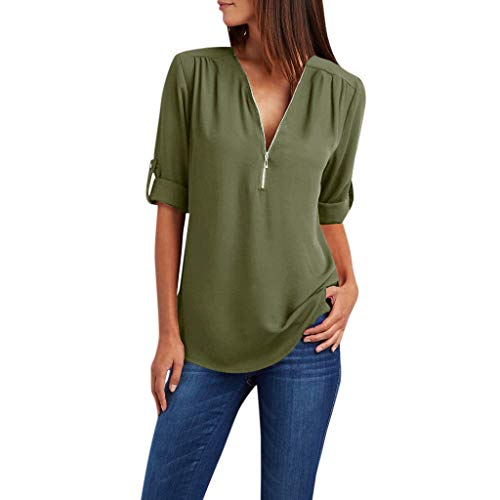 POQOQ Summer Tunic Top Women Zipper Long Sleeves Loose Chiffon Blouse Shirt(Army Green,M)]()