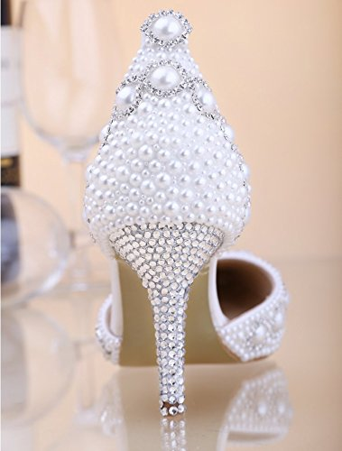 VIVIOO Prom Crystal Bride Sals Elegant Wedding Spring White Summer Korean Princess 8 Sandals Heeled The Dress Women Pointed Pearl Shoes High Of rrC8dq