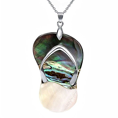 54mm X 34mm Multicolor Flip Flop Shaped Simulated Mother of Pearl Pendant With 18