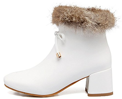 Easemax Women's Warm Zip Up Mid Block Heeled Square Toe Short Ankle High Martin Booties White G0WgJTQHj2