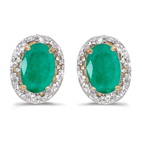 Emerald Earing Stud - FB Jewels Solid 14k Yellow Gold Studs Genuine Green Birthstone Oval Emerald And Diamond Earrings (0.62 Cttw.)