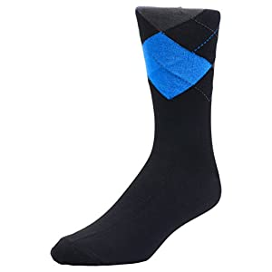 6 Pack Men's Dress socks - bamboo fiber by Velette - Size 10-13 (Black)