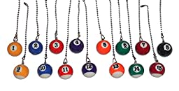 pool table Billiard Ball CEILING Fan Pull light chain (Assorted Colors)