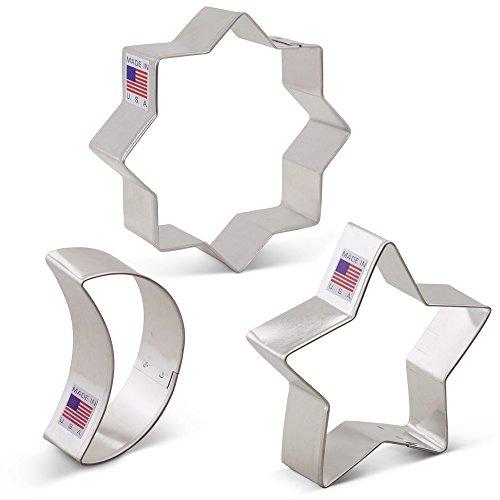 Islamic Ramadan Cookie Cutter Set - 3 Piece- Ann Clark- Islamic Star, Star, Moon - US Tin Plated Steel