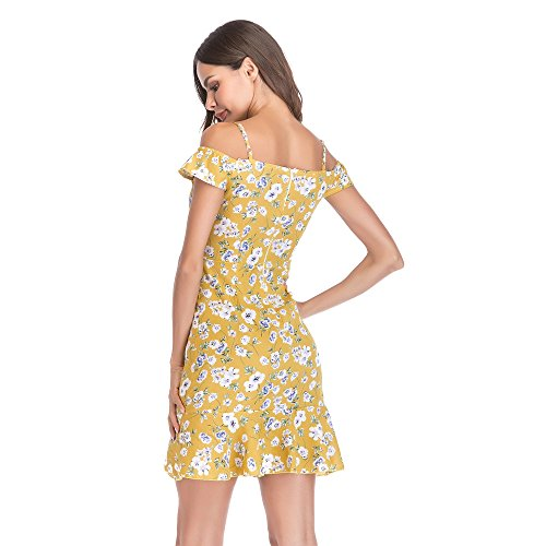 Da Per Abito Abiti Spalla Fuori Estate Beach Strappy Ragazze Giallo Floreale Ladies Balze Womens Dress Festa Mini OXwkZnP80N