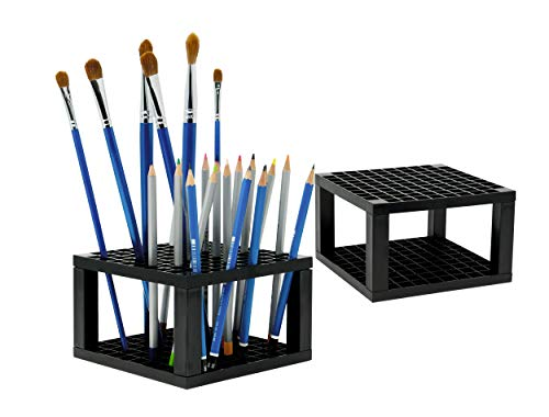 CAXXA 96 Hole Art Plastic Pencil & Brush Holder Desk Stand Organizer Holder for Pens, Paint Brushes, Colored Pencils, Markers (2 Pack)