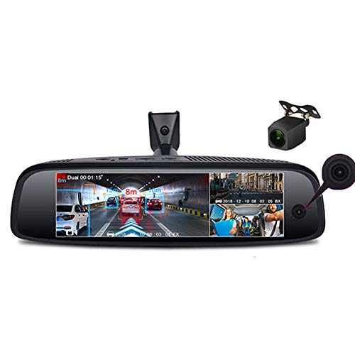 XINX Camera Recorder Car Dash Cam Three-Record Driving Recorder 8-Inch Streaming Media Rearview Mirror Reversing Image Android Navigation