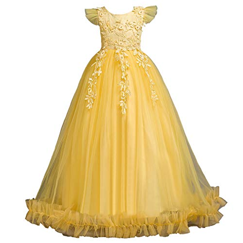 (Tutu Dresses for Girls Ruffles 7 Years Old Ball Gown Sleeveless Floral Girl Dress Size 7 Light Yellow Graduation Holiday Dress for Kids Cute Tulle Girls Dress Size 5 Fancy Yellow 140)