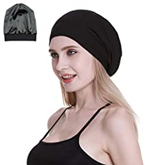 Elastic band? No!! We donot use elastic band.  Our soft elastic knitting fabric itself make the different head size and hair volume comfortable Satin lined caps are the perfect accessory for protecting your hair while helping you remain styli...