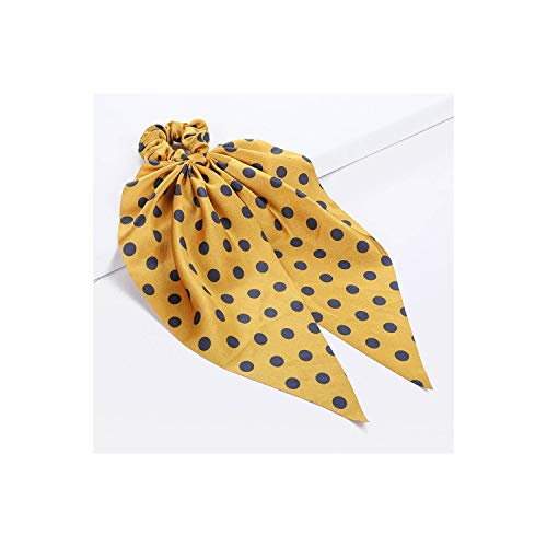 New Polka Dot Hair Tie Knot Floral Hairband For Women Hair Scarf Ponytail Holder Hair Accessories,A]()