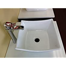 Renzo BSC209 Italian Design Small Single Bathroom Ceramic Vessel Sink Basin with Pop Up Drain, Chrome