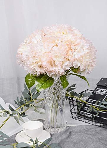 (LUSHIDI Artificial Silk Flower 5 Heads Cherry Blossom Bouquet for Home Wedding Decor (Pink))