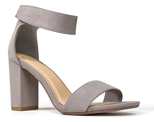 Grey Heels Shoe - J. Adams Ankle Strap Chunky High Heels – Comfortable Open Toe Velcro Strap Sandal – Evening, Party, Wedding, Prom - Zaley