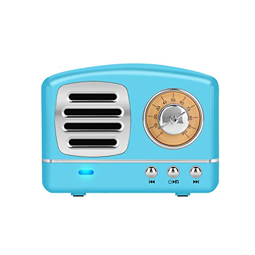 (Dosmix Wireless Stereo Retro Speaker, Portable Bluetooth Vintage Speaker with Built-in Mic,USB, SD Card Slot, AUX for Kitchen,Bedrooms,Desk,Shelf,Party,Travel,Outdoor, Android,iOS,Blue)