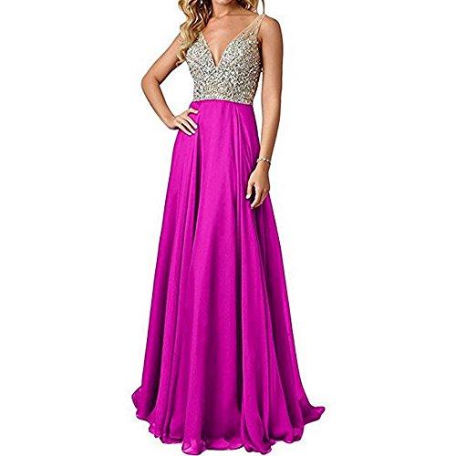 Fuchsia Chiffon Zipper (QSYE Women's Beaded Prom Dreeses Long V-Neck Chiffon Evening Gowns 2017 Fuchsia,18w)