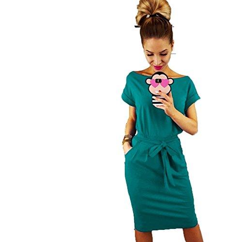del Vestido Desgaste la de Correa Las con Mujeres de ALAIX Manga Corta el Trabajar Ocasional Elegante la Turquesa lápiz Oqdx1pB