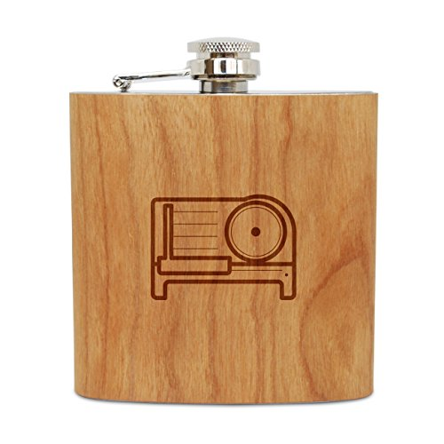 Meat Slicer 6 Oz Wooden Flask (Cherry), Stainless Steel Body, Handmade In Usa