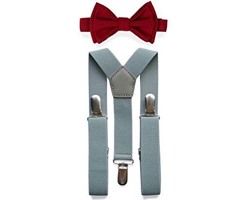 Light Grey Suspenders Bow Tie Set for Baby