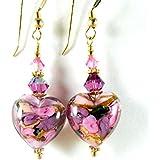 Pink Purple Floral Murano Glass Heart Dangle Earrings