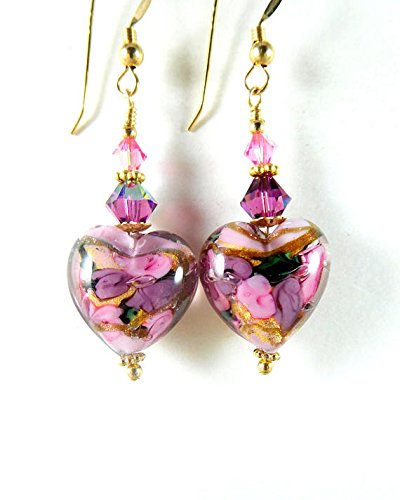 Pink Purple Floral Murano Glass Heart Dangle Earrings Murano Glass Earring