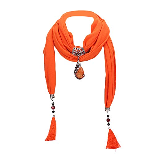 - Women's Tassel Scarf Necklace Indian Teardrop Pendant Jersey Scarf Jewelry Scarf (B)