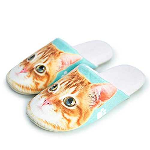 CYBLING Cute Animal Cat Dog Fashion Cartoon Light Soft Cozy House Cotton Slipper Non-Slip Yellow zqUCAetc