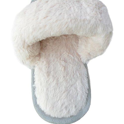 Bestfur Mens Inverno Caldo Confortevole Tessuto A Maglia Peluche Casa Pantofole Grigio