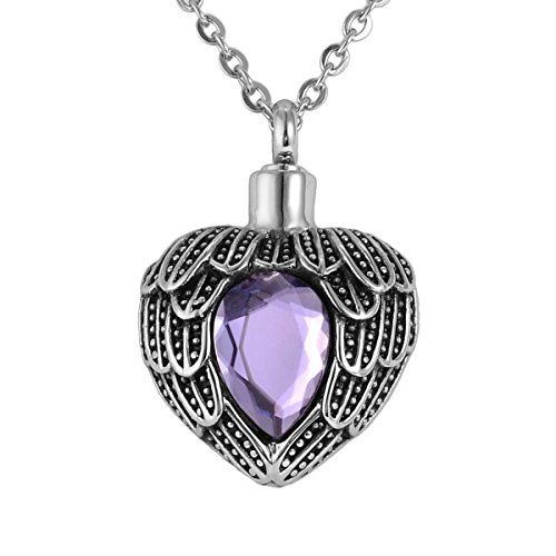 - Valyria Angel Wing Birthstone Memorial Urn Necklace Stainless Steel Cremation Jewelry,Light Purple(June)