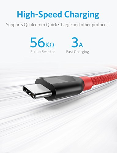 Anker [2-Pack, 6ft] Powerline+ USB-C to USB-A, Double-Braided Nylon Fast Charging Cable, for Samsung Galaxy S9 / S9+ / S8 / S8+ / Note 8, MacBook, LG V20 / G5 / G6, and More(Red)