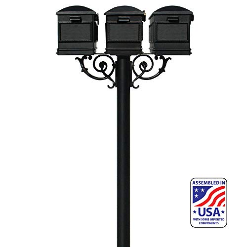 (Qualarc HPWS3-US-000-LM Hanford Triple w/Scroll Supports Post Mounted Mailbox System, Black )