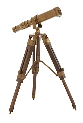 Deco 79 Timeless Brass Wood Telescope