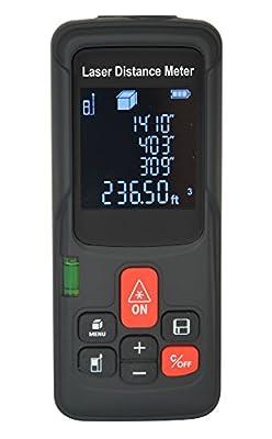 MAKINGTEC Multi- function Laser Distance Measure 197Ft Laser Measuring Device whit Bubble Level, Pythagorean Mode,Area and Volume measurement Laser Measure NS-60 Black