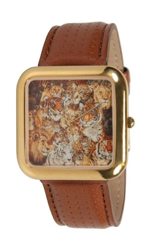 Wild Cats Series Unisex Safari Watch: Lions Tigers Panthers Gold-Tone Leather Strap Watch # 6207G ()