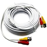 Five Star Cable 4-pack 25ft Video Power Cables Security Camera Extension Wires Cords with BNC RCA Connectors Pre-Attached for CCTV DVR Home Surveillance System