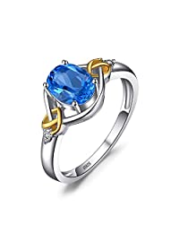 JewelryPalace Love Knot 1.5ct Natural Swiss Blue Topaz Diamond Accented Promise Ring 925 Sterling Silver 18K Yellow Gold