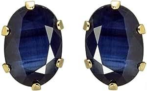 Murshid Gems 10K Gold Blue Sapphire Stud Earrings, Push Closure