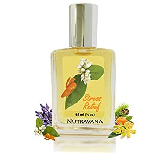 #1 Stress Relief Roll on Relax, Relieve Anxiety, Reduce Tension, Calm Nerves Therapeutic Grade Herbal Remedy by Nutravana Kids Safe Aromatherapy Essential Oils Synergy Blend Roller 15 ml +FREE E-BOOK