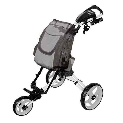 Rovic RV1D 3-Wheel Disc Golf Push Cart | Fits All Disc Golf Backpacks (Arctic/White)
