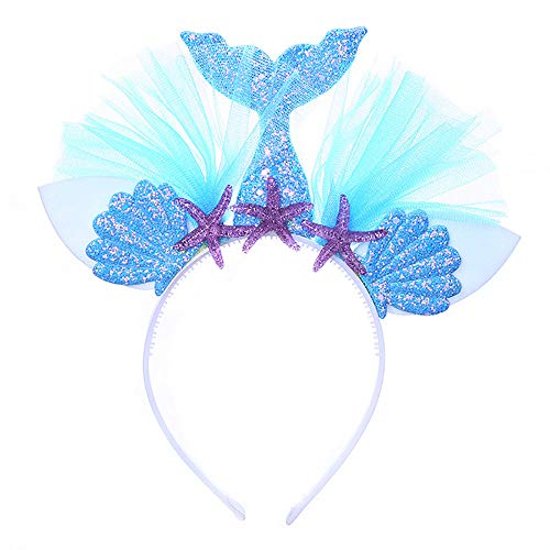 Maticr Glitter Birthday Girl Mermaid Headband Mermaid Tail Tulle Head Band Under The Sea Party Headwear (Glitter Blue) ()