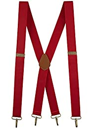"""Buyless Fashion Men Suspenders Elastic Adjustable 48"""" X Back with Metal Hook 1 ¼ - 5119-Red"""