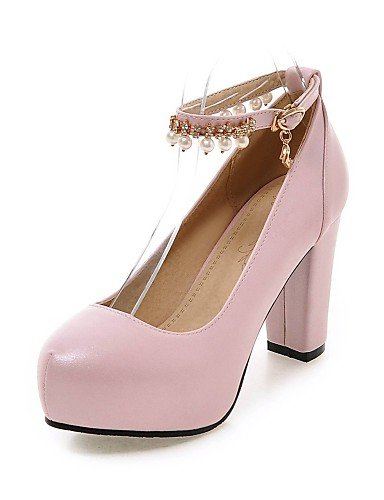 GGX/Damen Schuhe PU Sommer-/, Round Toe Heels Büro & Karriere/Casual geschoben Ferse Nachahmung Pearlblack/blau/pink/ white-us6 / eu36 / uk4 / cn36