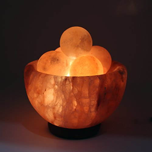 UMAID Natural Himalayan Rock Sea Salt Lamp Bowl With 6 Heated Salt Massage balls, Stylish Wood Base, Bulb With Dimmable Switch UL-Listed Cord by UmAid (Image #1)