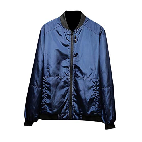 Energy Mandarin Loose Jacket Plus Men's Baseball Blue Size Coats Satin Collar Navy rqw1axrnS