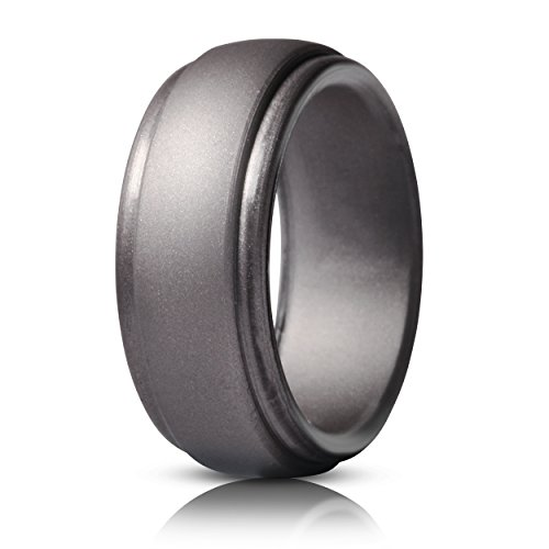 Saco Band Silicone Ring for Men Rubber Wedding Band - 1 Ring (Brass, 10.5-11 (20.6mm))