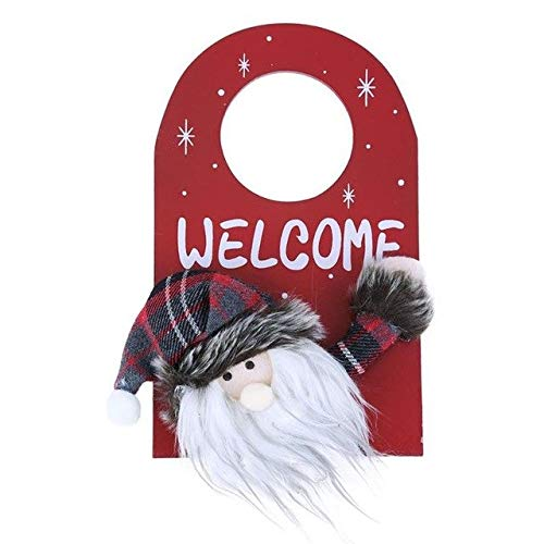 (Laz-Tipa - Christmas Pendant Natural Wood Welcome Santa/Snowman Door Knob Hanging Decoration for Home Party Pendants Pine Decor)
