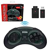 Retro-Bit Sega Genesis 2.4 GHz Wireless Controller 8-Button Arcade Pad for Sega Genesis Original/Mini, Nintendo Switch, PC, Mac - Includes 2 Receivers & Storage Case - Shadow